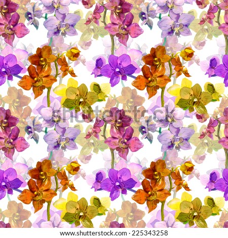 Tropical orchid flowers. Repeating floral pattern. Water colour - stock photo