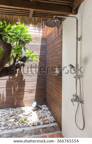 Tropical Outdoor Shower - stock photo