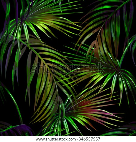 Tropical palm leaves seamless floral pattern background