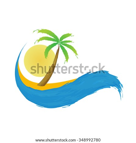 Tropical palm on island with sea. icon. - stock photo