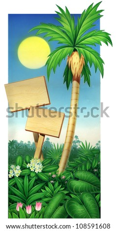 tropical palm tree and wood plaque with blue sky - stock photo