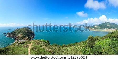 Tropical panorama landscape and  seascape view from a hillside at Beigan island,Matsu,Taiwan - stock photo