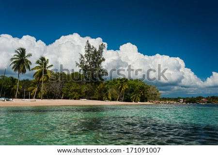 Tropical panoramic beach in Dominican Republic. Summertime vocation on the untouched tropical beach in Dominican Republic. Tropical life. Native typical caribbean islands life.