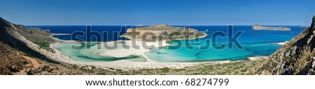 tropical panoramic image of a beautiful beach in the Balos bay - stock photo