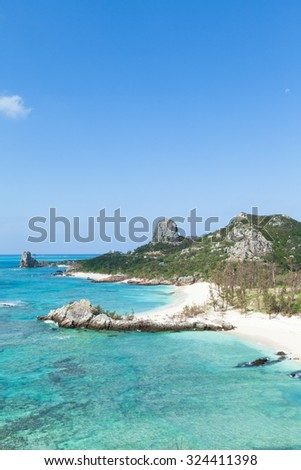 Tropical paradise beach coastline with clear blue sea, Izena Island, Okinawa, Japan - stock photo