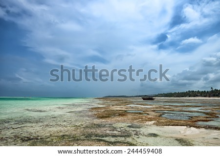 Tropical paradise beach located on island Zanzibar - stock photo