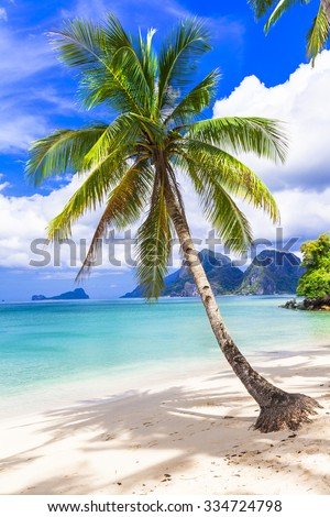 tropical paradise beach,Palawan, Philippines - stock photo