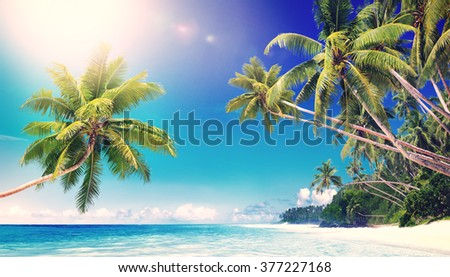 Tropical Paradise Beach Seascape Travel Destination Concept - stock photo
