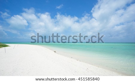 Tropical paradise beach with clear turquoise water and white sand, Okinawa, Japan - stock photo