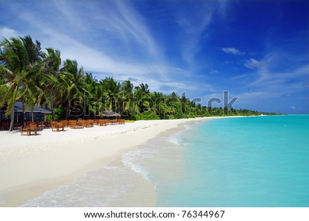 Tropical paradise in Maldives with coconut palms along the white beach and turquoise sea - stock photo