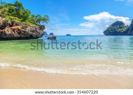 Tropical paradise. Railey Beach in Krabi province in Thailand - stock photo