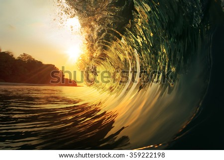 Tropical paradise template with sunlight. Ocean surfing wave breaking  - stock photo