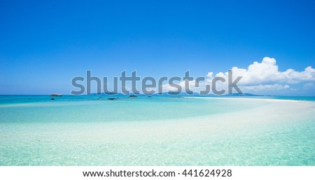 Tropical paradise water and coral sand cay beach, Yaeyama Islands, Okinawa, Japan