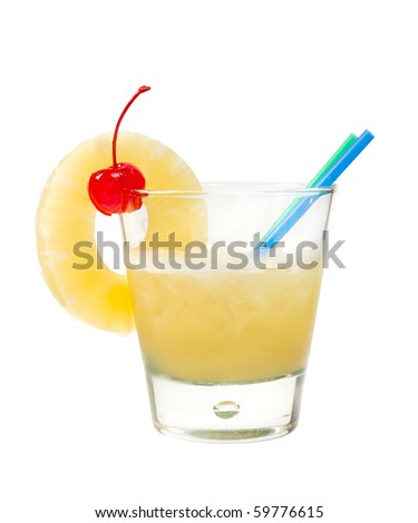 tropical pineapple cocktai. isolated on white background,clipping Path - stock photo