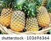 Tropical pineapples fruits in basket - stock photo