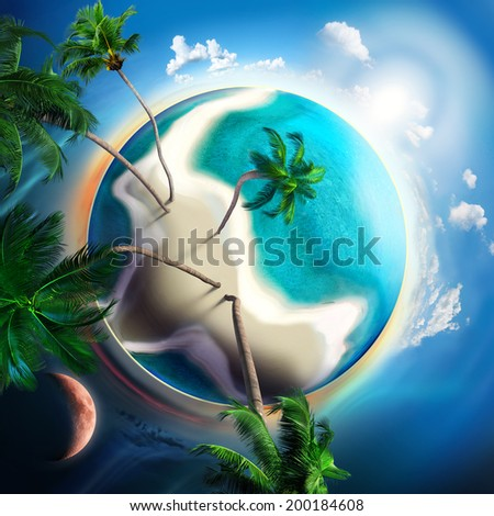 tropical planet with sand island, turquoise and palm trees - stock photo