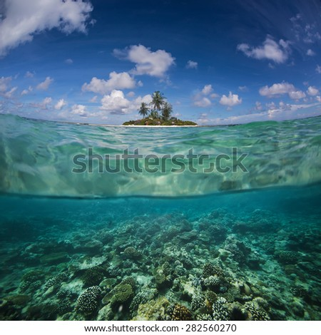 Tropical postcard for your Design with Maldivian island at sunny day and underwater world with corals discovered. Image splitted by waterline and water surface. - stock photo