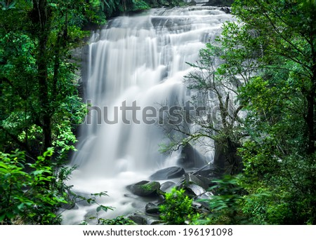 Tropical rain forest landscape with jungle plants and flowing water of Sirithan waterfall. Mae Klang Luang village, Doi Inthanon National park, Chiang Mai province, Thailand