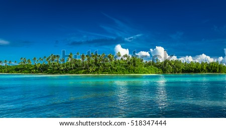 Tropical Rarotonga with palm trees and white sandy beach, Cook Islands