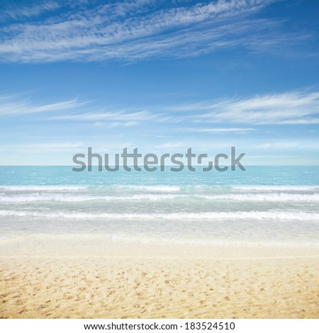 Tropical resort beach. Summer background - stock photo