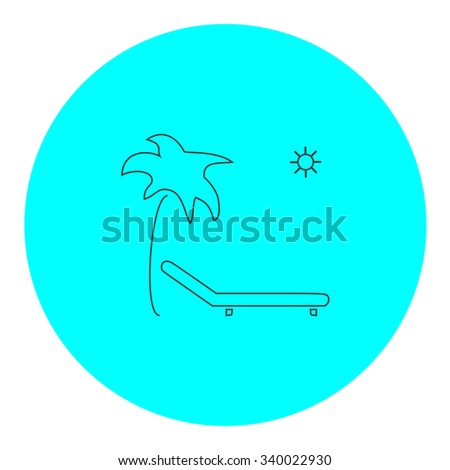 Tropical resort beach. Sunbed Chair. Black outline flat symbol on blue circle. Simple illustration pictogram on white background - stock photo