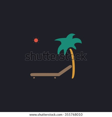 Tropical resort beach. Sunbed Chair. Color flat icon on black background - stock photo