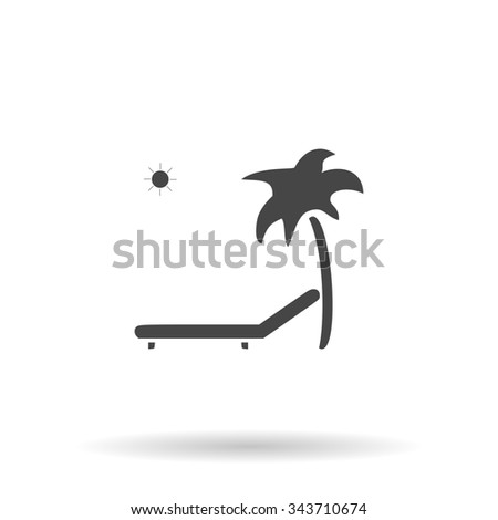 Tropical resort beach. Sunbed Chair. Flat icon on grey background with shadow - stock photo