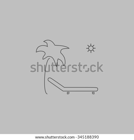 Tropical resort beach. Sunbed Chair. Flat outline icon on grey background - stock photo