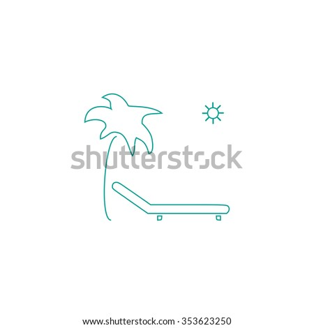 Tropical resort beach. Sunbed Chair. Outline symbol on white background. Simple line icon - stock photo
