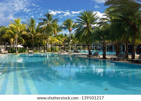 Tropical resort on the West coast of Mauritius island at early morning