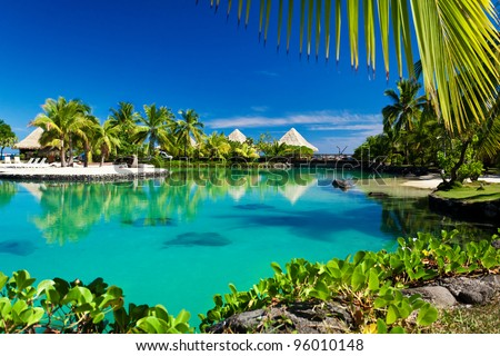Tropical resort with a green lagoon and many palm trees - stock photo