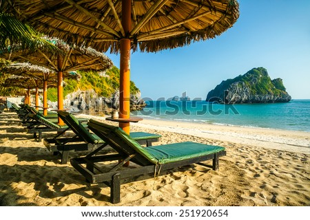 Tropical resort with chaise longs arranged in a row under palms on sandy beach, rocky island seen in distance - stock photo