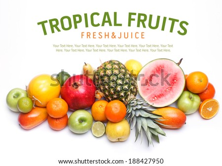 Tropical ripe fruits mix. Sweet food with vitamins. Summer citrus fresh fruits.