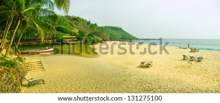 Tropical river and seashore in South Goa. India - stock photo