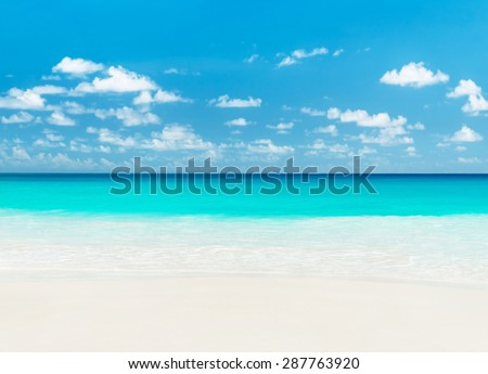 Tropical sandy beach. Anse Georgette, Praslin island, Seychelles - vacation background - stock photo
