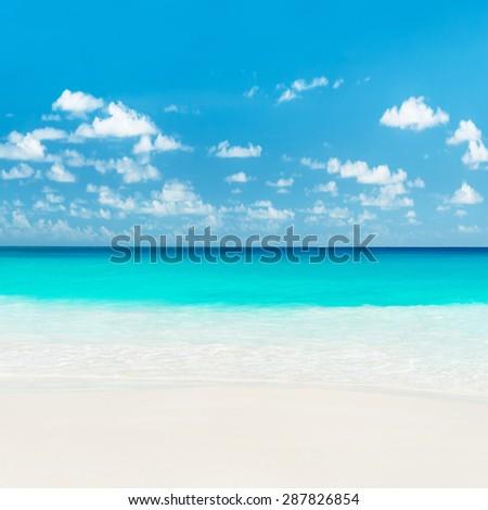 Tropical sandy beach. Anse Georgette, Praslin island, Seychelles - vacation background - stock photo