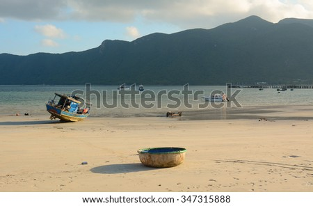 Tropical sandy beach at summer sunny day, Phi Phi island, southern Thailand. - stock photo