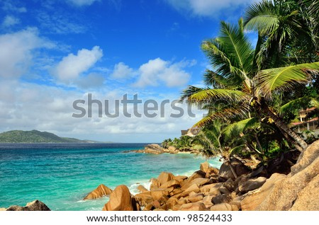 Tropical sandy beach on Seychelles islands, La Digue, Anse Severe