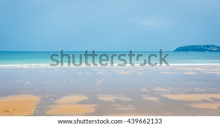 Tropical sandy beach with clear sky. Playa Bastiagueiro in Spain.