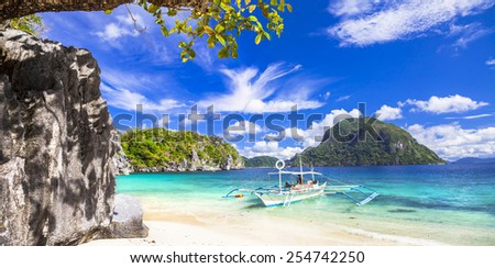 tropical scenery of Palawan, Philippines - stock photo