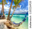 tropical scenery with hammock - stock photo