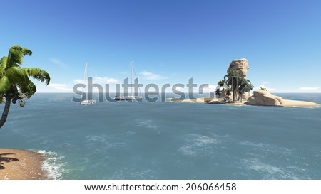 tropical scenery with yacht made in 3d software - stock photo