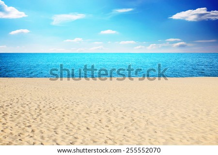 Tropical sea and beach in summer day, blur - stock photo
