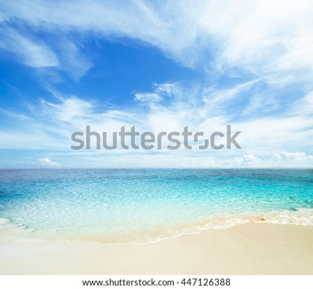 Tropical sea and cloudy sky - stock photo