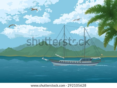 Tropical Sea Landscape, Sailboat Ship, Mountains, Palm Tree Branches, Sky with Clouds and Birds Gulls.  - stock photo