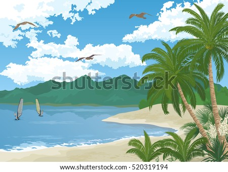 Tropical Sea Landscape, Summer Beach with Green Palm Trees and Exotic Yucca Flowers, Sportsman Surfers, Mountains, Birds Gulls in the Blue Sky with White Clouds