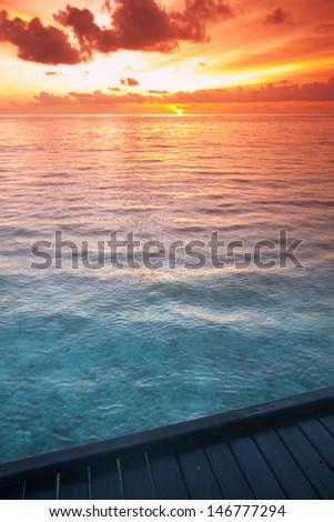 Tropical sea water in Maldives - stock photo