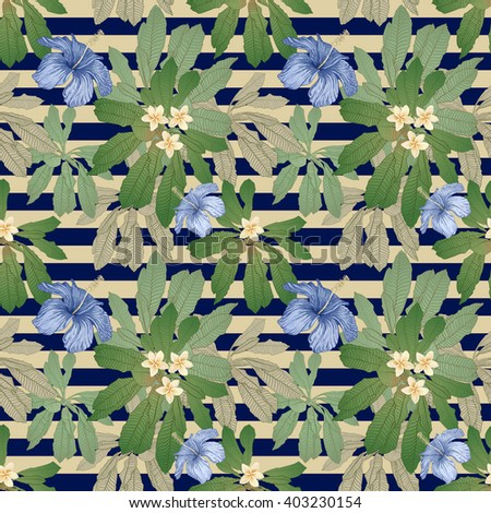 Tropical seamless floral pattern from hand drawn  fantasy blue hibiscus flower, palm leaves,exotic foliage on a dark indigo striped background. Textile print, batik painting, wrapping paper, wallpaper - stock photo