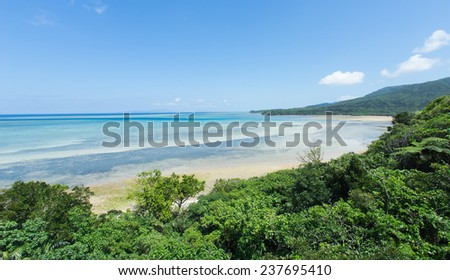Tropical seascape full of clear coral water and lush green Jungle in Iriomote-jima, Okinawa, Japan - stock photo
