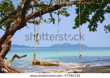 Tropical seascape in island Koh Wai, Thailand. - stock photo